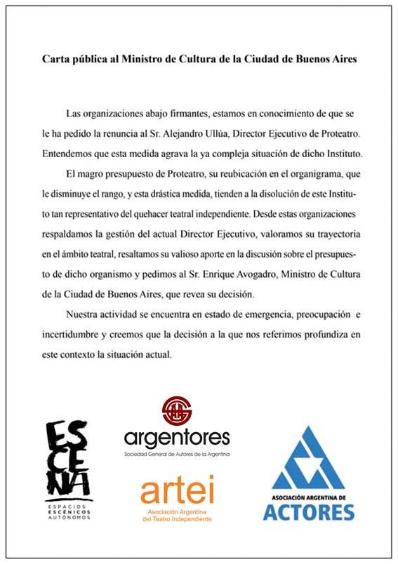 Carta pública al Ministro de Cultura de la Ciudad de Buenos Aires